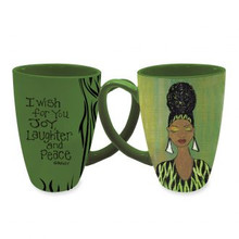 "I Wish For You Joy, Laughter and Peace Latte Mugs--Sylvia ""GBaby"" Cohen"