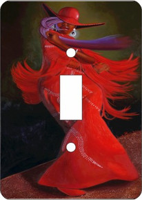 Ebony All Red Double Light Switch Cover --Oronde Kairi