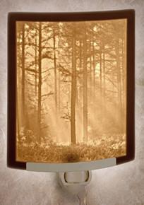 WOODLAND SUNBEAMS Curved Panel Night Light-- Lithophanes
