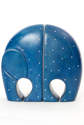 Blue Polka Dot Soapstone Elephant Bookends