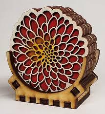 Dahlia Set of 4 Coaster --Red