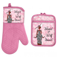 Blessed And Sho Nuff Favored Oven Mitt and Potholder Set--Kiwi McDowell