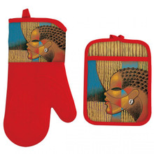 "Composite Woman Oven Mitt Potholder Set--Larry ""Poncho"" Brown"