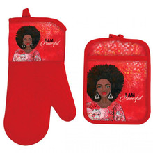 I Am Powerful Oven Mitt Potholder Set--GBaby