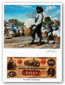 Color of Money - Slave Gathering Cotton: Mississippi Art Print - John Jones