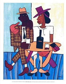 Cafe (mini) Art Print - William H. Johnson