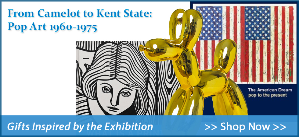 """Shop gifts inspired by the exhibition: """"From Camelot to Kent State: Pop Art 1960-1975"""". Andy Warhol, Jeff Koons, and others are celebrated in books, stationery and more."""
