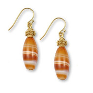 Red Banded Agate Earrings