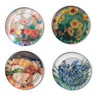 Floral Glass Coaster Set