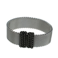 Rhodium Narrow Flat Mesh Bracelet