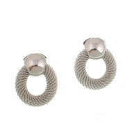 Silver Mesh Circle Post Earrings