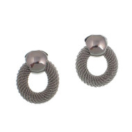 Rhodium Mesh Circle Post Earrings
