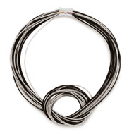 Black | Silver Piano Wire Knot Necklace