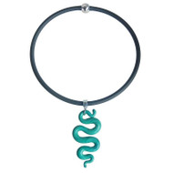 Malachite Silver Glass Snake Necklace