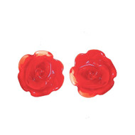 Cherry Rose Glass Stud Earrings