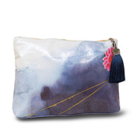 Large Tassel Pouch | Indigo Watercolor