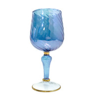 Wine Glass Blue Swirl