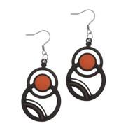 Orange Saturn Earrings