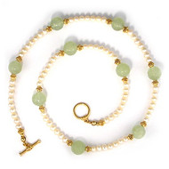 Jade Dragon Bead & Pearl Necklace