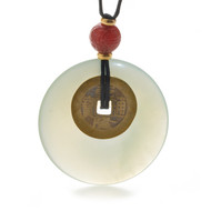 Jade Lifesaver Necklace with I Ching Coin