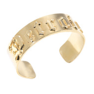 "Caliber Detroit  ""D"" 18K Gold-Plated Cuff Bracelet"