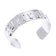 "Caliber Detroit  ""D"" White Gold-Plated Cuff Bracelet"