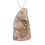 Rebel Nell Graffiti Pendant Necklace Pink Granite