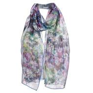 Monet Flower Vase Silk Chiffon Scarf