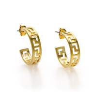 Classical Meander Link Post Earrings