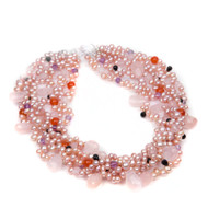 Six Strand Pink Pearl and Quartz Necklace