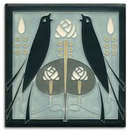 Motawi Tileworks Songbirds Tile Grey Blue
