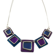 Irregular Squares Resin Necklace: Purple/Blue