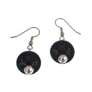 Black Nickel Mesh / Silver Bead Earrings