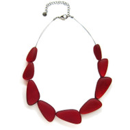 Irregular Triangles Resin Necklace in Reo Red