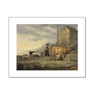 Landscape with Maid Milking a Cow, by Cuyp, Archival Print