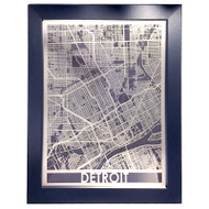Detroit Stainless Steel Framed Map