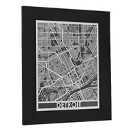 Detroit Stainless Steel Framed Map Small