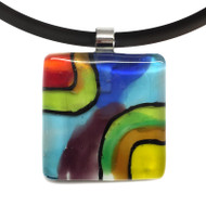 Murano Glass Abstract D Pendant Necklace