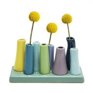 Colorful Tubes Ceramic Vase Aqua