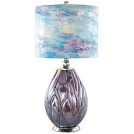 Playful Clouds Handpainted Shade & Blown Glass Base Table Lamp
