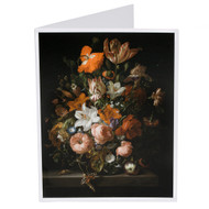 Rachel Ruysch Flowers in a Glass Vase Single Note Card