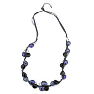 Tanzanite and Black Crystal Necklace with Suede Ribbon