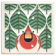 Motawi Tileworks Charley Harper Coniferous Cardinal Tile