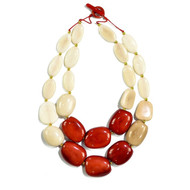 Manabi Tagua Necklace: Cream/Red
