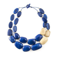 Manabi Tagua Necklace: Cobalt/Cream