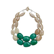 Manabi Esmeralda Tagua Necklace: Cream/Green