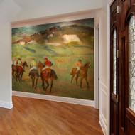 Jockeys on Horseback before Distant Hills Wallpaper Mural