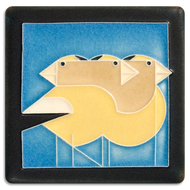 Motawi Tileworks Charley Harper Gregarious Grosbeaks Tile Blue