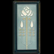 Motawi Tileworks Tile Long Stem Flower Grey Blue