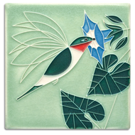 Motawi Tileworks Little Sipper Hummingbird Tile Mint